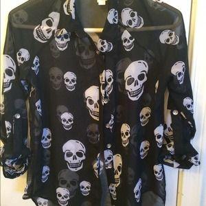 Long sleeved sheer skull blouse