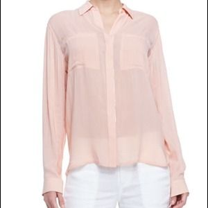 Vince Long-Sleeve Button-Front Blouse Grapefruit L