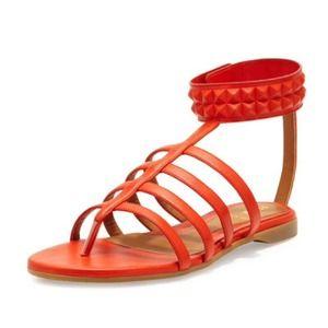 Fendi Studded Leather Cage Sandal Red/Orangish 10