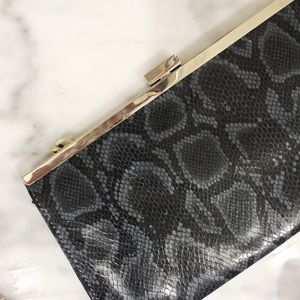 Francesca's Collections Handbags - Francesca's Collection Navy Snake Skin Clutch