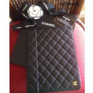 AUTH Chanel Black Caviar Leather iPad Case