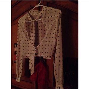 Vintage cross long sleeve, open back sheer shirt