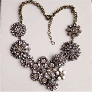 Crystals flower lattice statement necklace