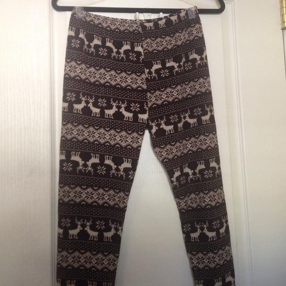 64583203b8886d j. village Pants | Reindeer Snowflake Patterned Ugly Xmas Leggings ...