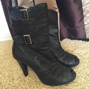 Chinese Laundry black open toe booties