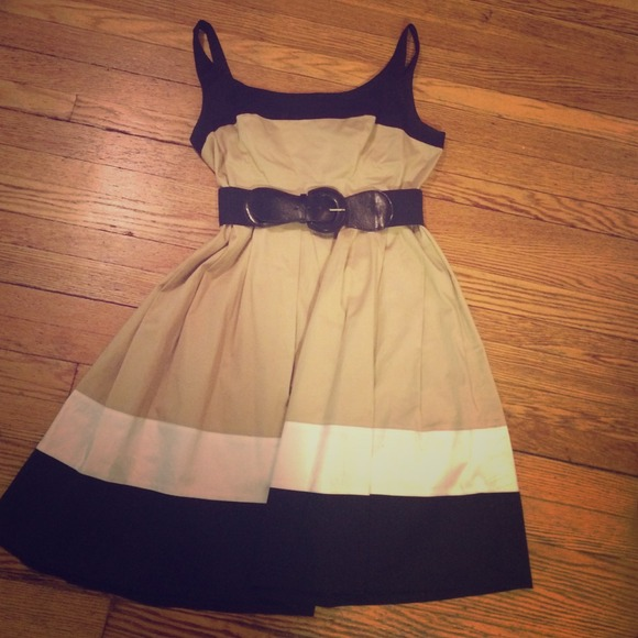 Color Block Dresses Black And White Black Tan And White Color