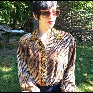Lord & Taylor vintage silk animal print blouse