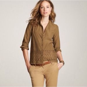J. Crew Delaney Eyelet Trim Shirt