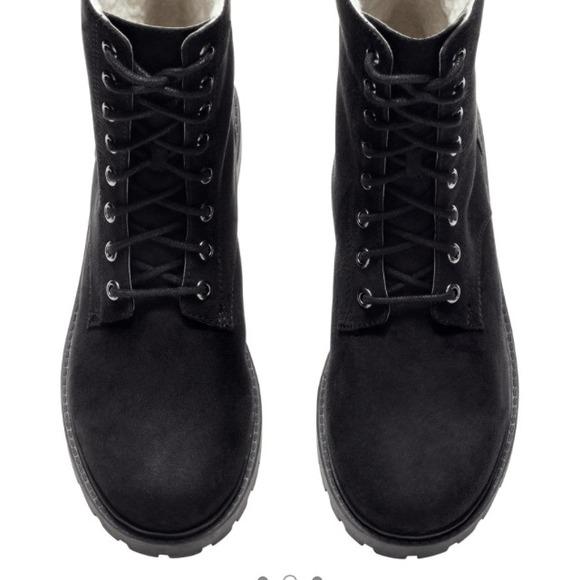 velvet combat boots h&m
