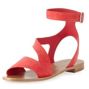 Prada Suede Ankle-Wrap Sandal, Coral 10 NWT