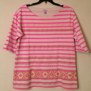 J. Crew Tops - Pink Striped J.Crew Top, Sz S