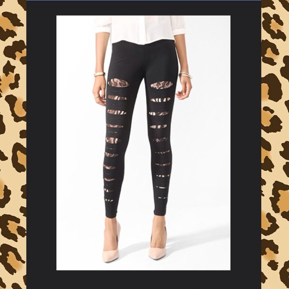 471f88d025749 Forever 21 Pants | Sold Destroyed Ripped Leopard Lined Leggings ...