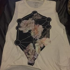 Cream Floral Graphic Muscle Tee