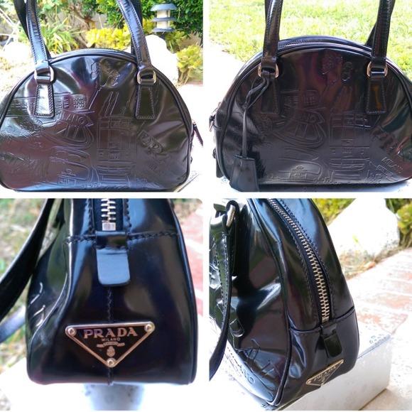 e652a37fb5bb prada black patent leather handbag
