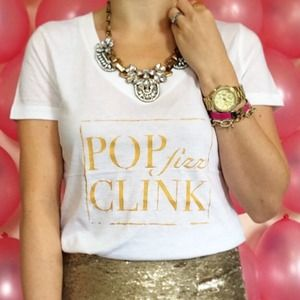 POP FIZZ CLINK Champagne Graphic Typographic Tee
