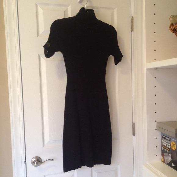 c8af0a4aae Black short-sleeve ribbed turtleneck sweater dress.  M 543165653a3efc4ada230d2a