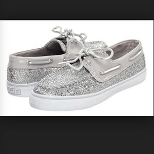 Silver Sparkly Sperry's