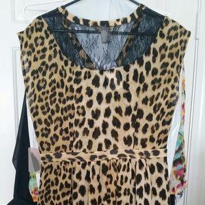 Forever 21 leopard print lace black dress