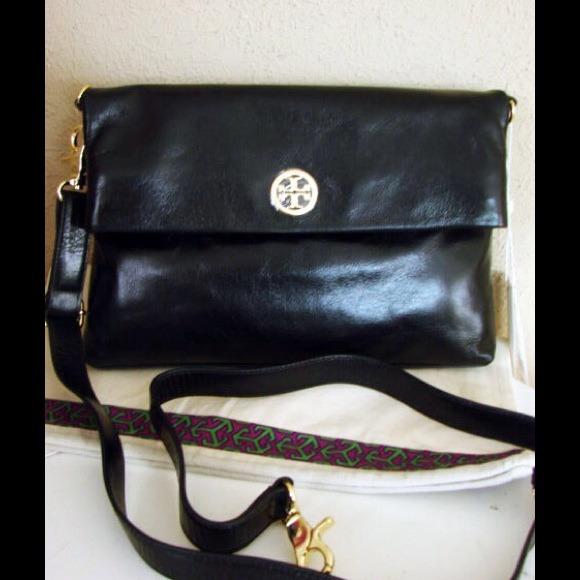 2eac80af7ba0 New Tory Burch Dena Foldover Messenger Bag Black