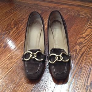 Coach Shoes - Flash Sale! Coach Suede Heels w Gold Hardware