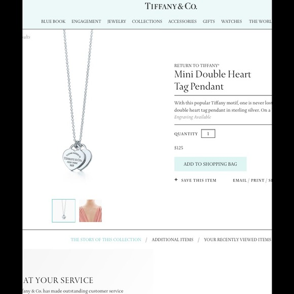 66ba3748f Tiffany & Co. Jewelry | Tiffany Co Double Heart Pendant Necklace ...