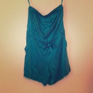 Silky soft strapless teal romper