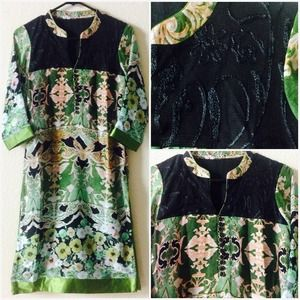 Dresses & Skirts - Abstract Print Green Indian Tunic