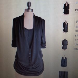 ModCloth Black Draped front top