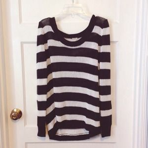 J.Crew Black and White Striped Sweater