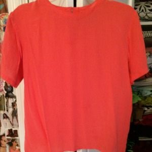 Peachy/ Red Oscar de la Renta blouse. Never worn.