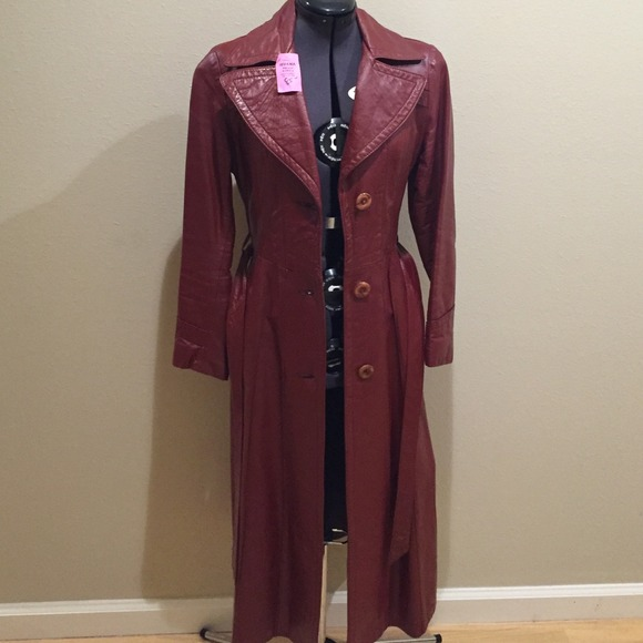 Cosa Nova Red Leather Trench Coat From Debbie S Closet
