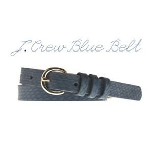 SALE! J. Crew Blue Snakeskin Round-Buckle Belt.