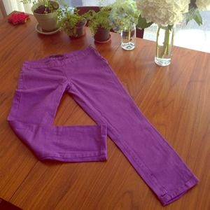 Zara Purple skinny cropped jeans with side zipper