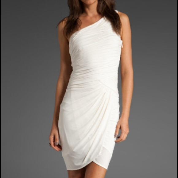 3a8276e0d5a BCBGMaxAzria Dresses | Bcbg Macazria Small White One Shoulder Dress ...