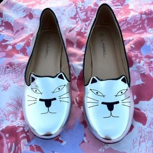 C Label Shoes - Silver Metallic Cat Loafers