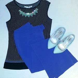 Office-chic: Royal blue flare leg dress pants.