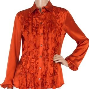 Just Cavalli Bright Orange Silk Satin Blouse 4-6