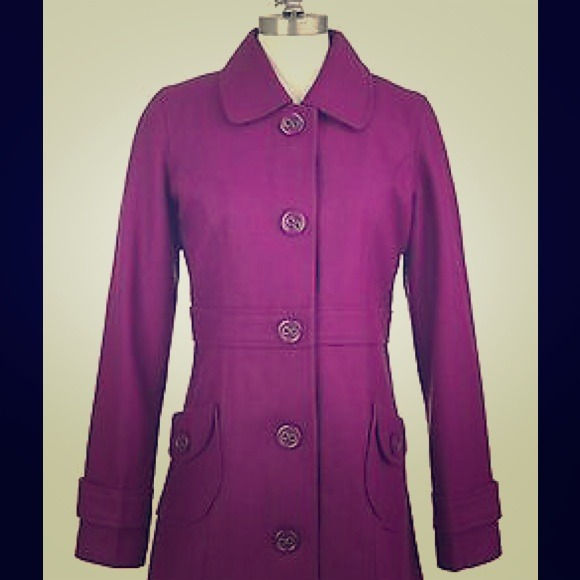 82% off Tulle Outerwear - Beautiful purple long pea coat from