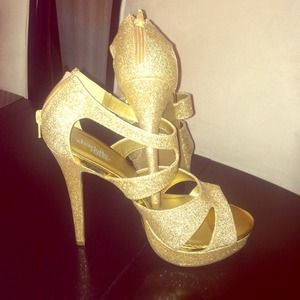 Size 8 Gold Glitter Shoes by Charlotte Russe