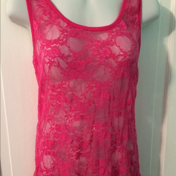 80 off tops hot pink lace razor back tank top from kristen s closet