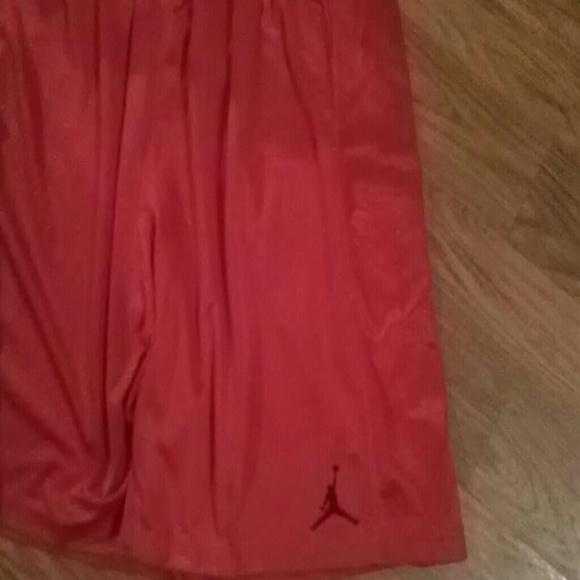53% off Jordan Pants - Jordan red silk basketball shorts from ...