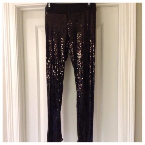 c77456e43fb20 Gracia Pants | Black Sequin Leggings Size Ml | Poshmark