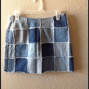 Vintage denim patchwork, mini skirt