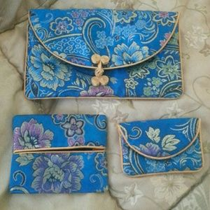 Authentic Silk Embroidery Makeup bag Set