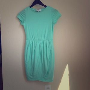Tight sabo skirt mint dress