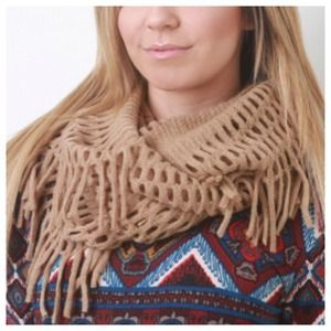 Accessories - Tan Fringe Cutout Infinity Scarf