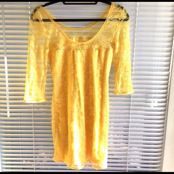 H&m Yellow Lace Sexy Dress