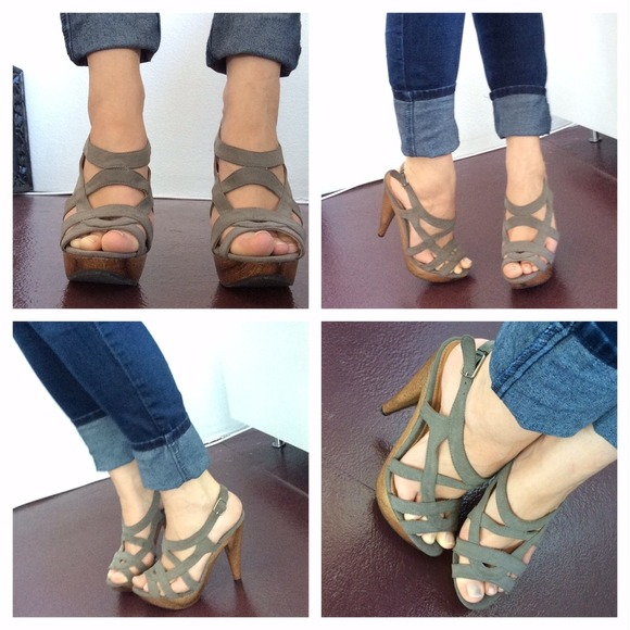 73% off Qupid Shoes - 馃啎 Sage Gray Strapping Wood Platform Heels ...