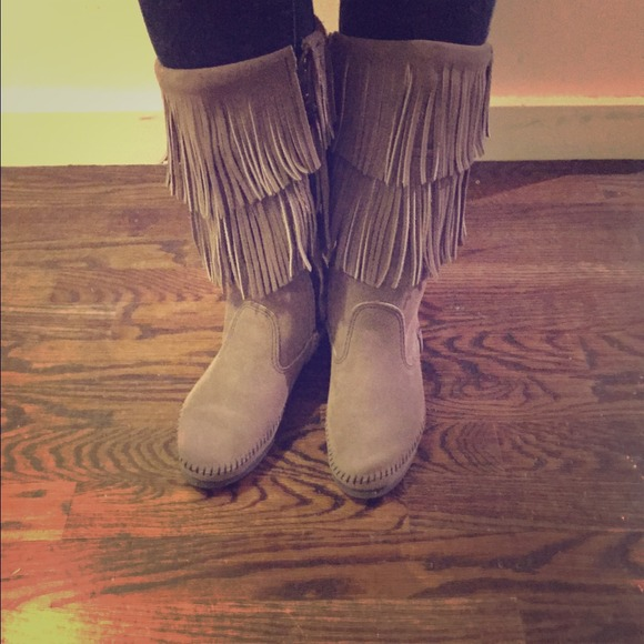Grey Two Layer Fringe Boots