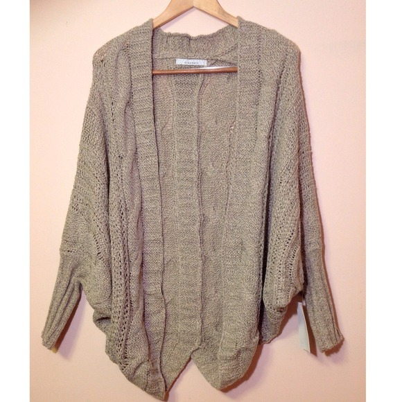 56% off Sweaters - Tan batwing open cable knit cardigan sweater ...
